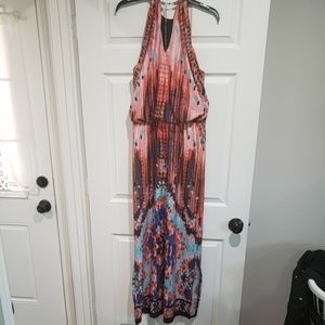 JBS Maxi dress w/ vibrant coloring & Gold neckline